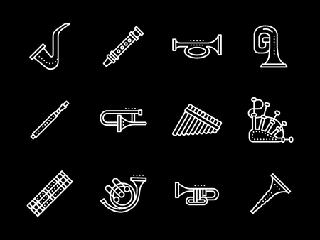 bagpipes: Brass musical instruments. Oboe and clarinet, bagpipes and saxophone, tuba and trombone and other samples. Set of flat white line vector icons on black background.