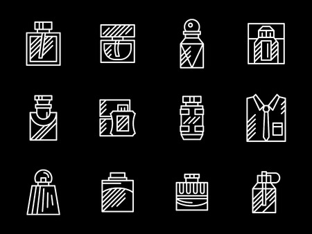 perfume atomizer: Perfume bottle different shape and style. Male fragrance and colognes store. Products for men. Set of flat white line vector icons on black background.
