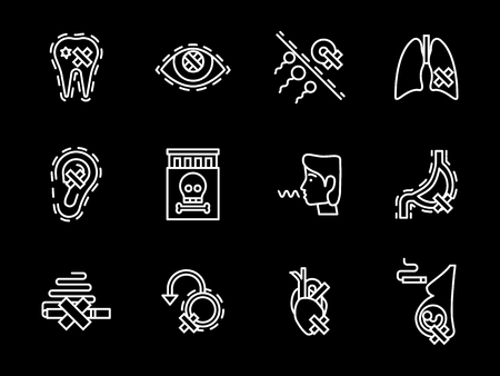 harming: Harmful and dangers of smoking for lungs, heart, reproductive system and other human organs. Social problems. Set of flat white line vector icons on black background.