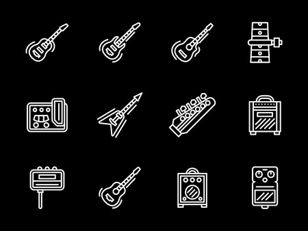 headstock: Guitar body and neck, amplifiers and combos, strings. Musical equipment for electric and acoustic guitars. Set of flat white line vector icons on black background. Illustration