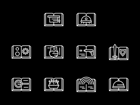 Different book categories and themes. Genres of literary. Science and fantasy, drama and poetry, books for learning. Set of flat white line vector icons on black background.
