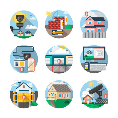 Home security, thief guard and alarm system. Services of protection or monitoring of private, commercial or industrial objects. Round detailed flat color style icons collection.