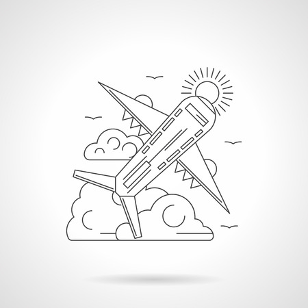 fuselage: Abstract illustration of plane taking off with clouds and sun on a background. Passenger airliner. Travel and tourism, aviation and air transport. Detailed flat line icon. Web design element.