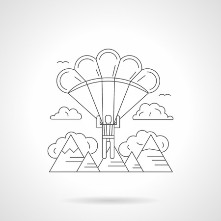 skydiver: Landscape with skydiver flying with a parachute over the mountains. Extreme vacations, traveling, tourism and journey. Detailed flat line icon. Web design element.