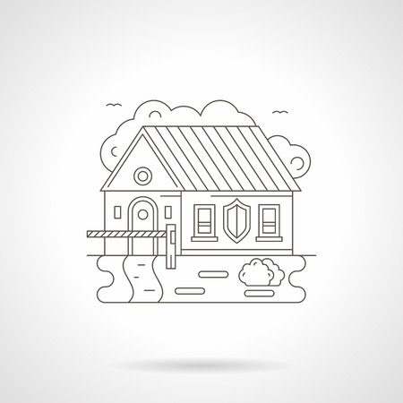 limited access: House with barrier and shield sign on a wall. Limited access to private or industrial facility. Object under protection, security services. Detailed flat line icon. Web design element.
