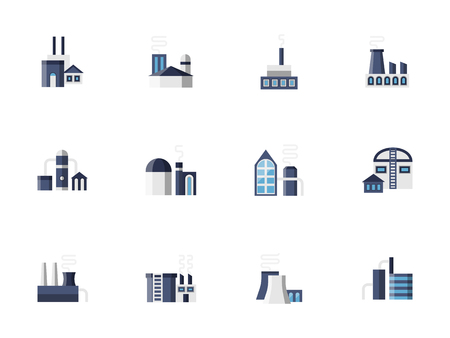 metallurgy: Blue industrial buildings, factories and plants. Architecture and constructions for industry - station, storage, refinery, pipelines and others. Illustration