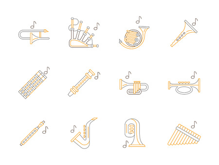 woodwind: Set of types of brass and woodwind musical instruments. Clarinet, sax, trumpet and others instruments for music concerts, entertainment, record studio.