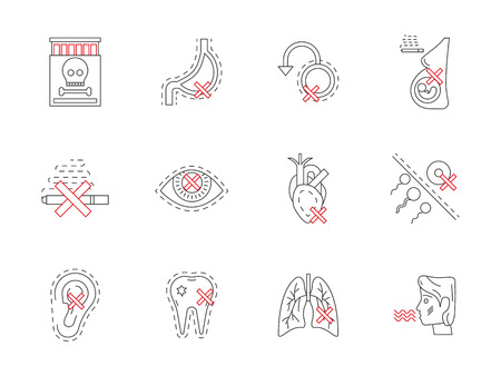 harm: Cigarettes harm to heart, lungs, pregnancy, reproductive system and other vital organ systems. Symbols of smoking destroying health. Flat black and red line icons collection.