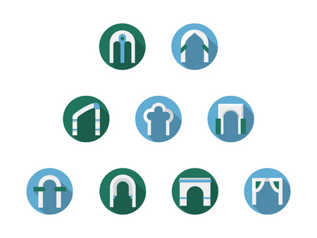 archways: Different types of arch frame. Archway, gateway, column constructions for entrance. Round blue and green flat style icons collection. Illustration