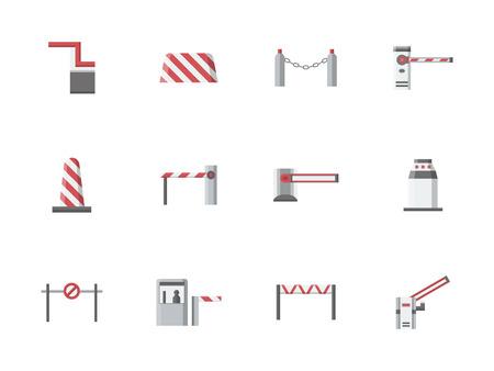 barrières de la circulation et des barrières, les frontières et les bouchons. L'équipement pour les postes de contrôle, le stationnement, le passage à niveau. éléments de contrôle d'accès. Jeu de couleurs plat style vecteur icônes. Vecteurs