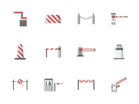 entrance is forbidden: Traffic barriers and gates, borders and stoppers. Equipment for checkpoints, parking, railroad crossing. Access control elements. Set of flat color style vector icons.