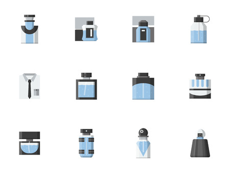 perfume atomizer: Perfume for men. Different shapes of blue bottles and vials. Mens fragrances shop, male fashion. Set of flat color style vector icons. Illustration
