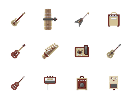 fingerboard: Acoustic and electric guitars, musical tools and equipment. Music record studio, concerts, store of musical instruments. Set of flat color style vector icons.