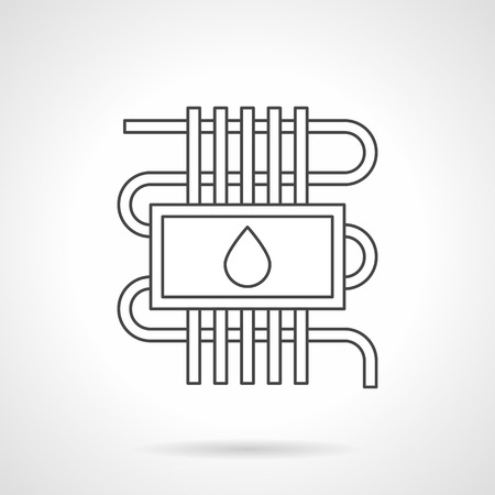 climatic: Water heating system for warm floor. Pipeline and a drop sign. Heated house technology, climatic equipment. Flat line style vector icon. Illustration