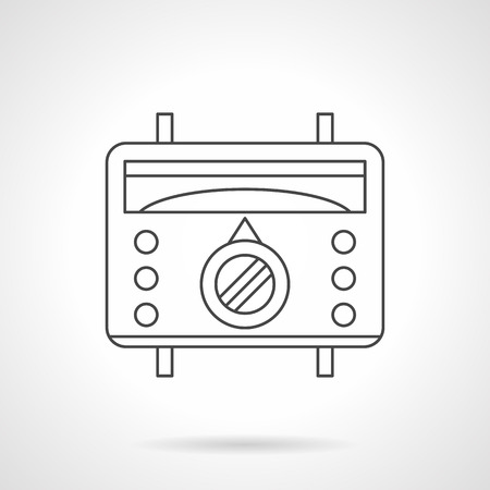thermostat: Warm floor appliances. Thermostat for underfloor heating remote control and regulation. Device with scale, switch and buttons. Flat line style vector icon. Illustration