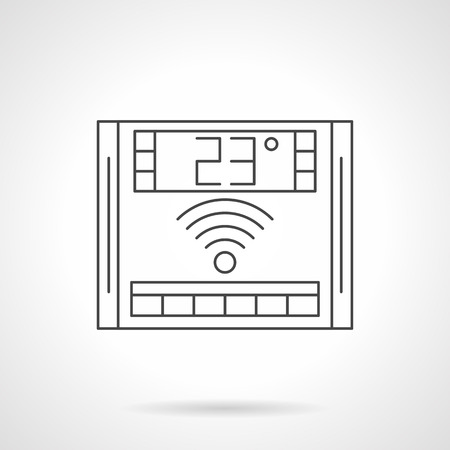floor heating: Electronic thermostat with 23 degrees on display. Underfloor heating wireless remote controller. Equipment and appliances for warm floor. Flat line style vector icon. Illustration