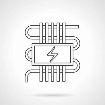 warm house: Abstract sign of pipeline or cord and power symbol. Electric heating system for warm floor. House climate technology. Flat line style vector icon. Illustration