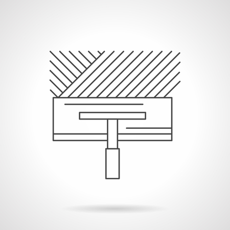 tile flooring: Wide spatula with trace on concrete or tile glue. Construction tools for renovation works, flooring, installing of heated floor and other services. Flat line style vector icon.