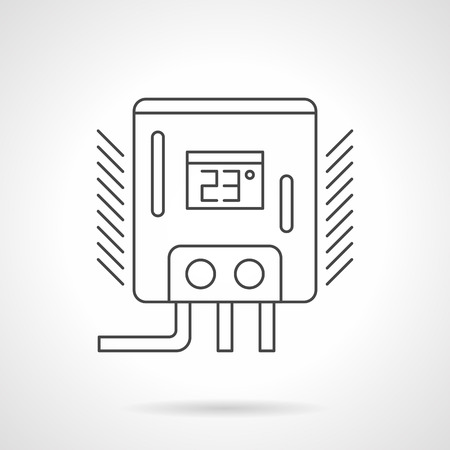 home heating: Water heater or boiler with preset temperature 23, two switches and pipes. Appliances and equipment for home heating, warm floor system. Flat line style vector icon. Illustration