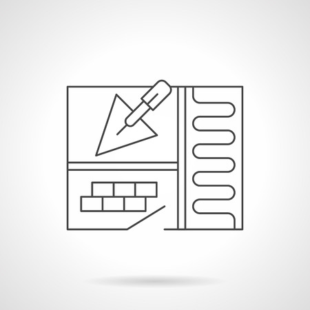 floor heating: Underfloor heating installation symbol. Abstract apartment sketch with trowel, room with tile and warm floor section. Construction and renovation works. Flat line style vector icon.