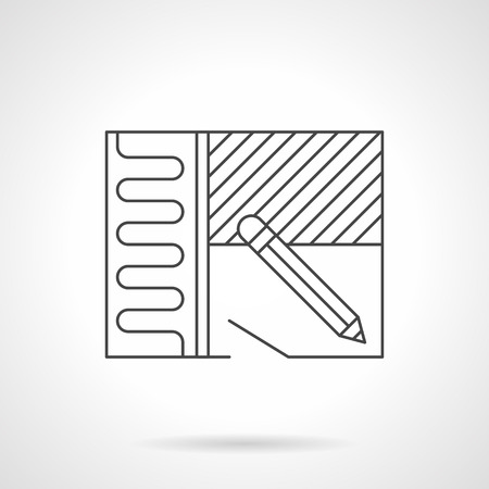 heating engineers: Symbol of renovation or home improvement with installing of heated floor. Construction, repair, flooring services. Flat line style vector icon.