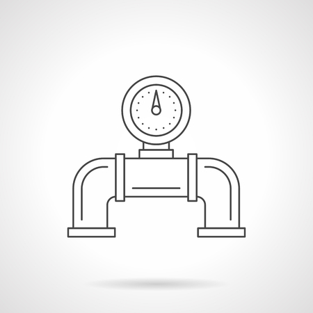 pipe water pipeline: Part of pipe with pipeline gauge for water, heating system and others. Industrial and household equipment, pressure measuring devices. Flat line style vector icon. Illustration