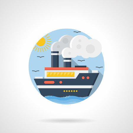 steamship: Passenger cruise liner with steam, clouds with sun and seagulls on a background. Steamship, sea vessel. Mode of transport theme. Round detailed flat color style vector icon. Illustration