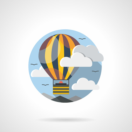 yellow adventure: Yellow striped hot air balloon with basket in sky with clouds. Aerostat for sport competition, romantic adventure, festive leisure. Mode of transport theme. Round detailed flat color vector icon.