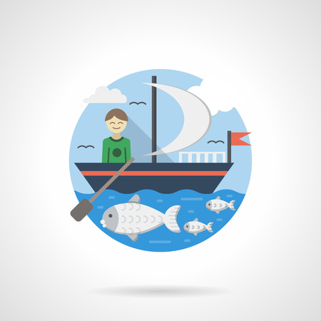 yachting: Smiling boy with paddle on a blue boat with white sail and red flag. Holidays leisure, yachting. Seascape with fish and clouds on a sky. Round detailed flat color style vector icon. Illustration