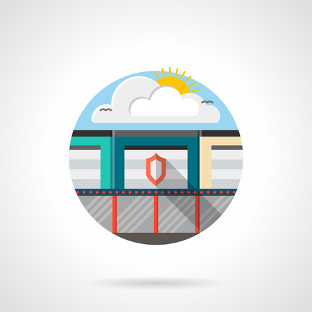 storage facility: Secure services for industrial, commercial of private storage. Security facility with shield on gate and fence. Round detailed flat color style vector icon. Illustration