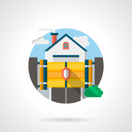 locked the door: Secure of private residence. House with yellow gate with shield sign on. Security fencing, automatic system. Round detailed flat color style vector icon.