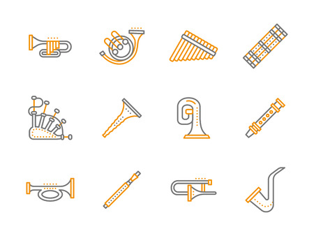 woodwind: Yellow and gray color classical woodwind and brass musical instruments. Alto, saxophone, tube, different pipes and other samples. Simple line style vector icons collection. Illustration