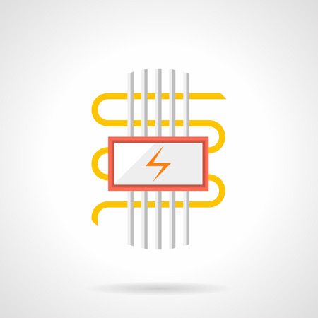 Heated floor with electric components. Cable heating system with wires, pipes and power sign. Warm for home concept. Single flat color design vector icon