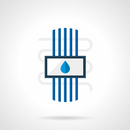 floor heating: Heated floor water system with blue pipes and drop sign. Underfloor heating installing services, construction and renovation works. Single flat color design vector icon Illustration
