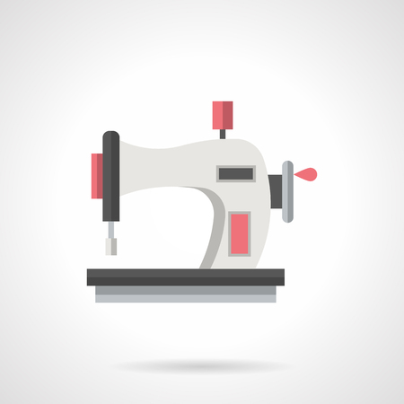 tailoring: Sewing machine with round handle of manual control. Household equipment for home tailoring, hobby, needlework. Flat color style vector icon.