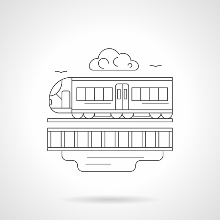 commuter: Railroad and train. Urban commuter, subway. Intercity passenger transportation concept. Detailed flat line vector icon. Web design element for business, site, mobile app. Illustration