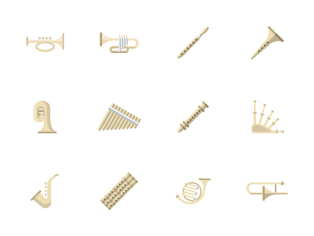 concert performance: Music culture and entertainment. Brass and woodwind musical instruments for concert, performance, orchestra and other. Set of flat color style vector icons.
