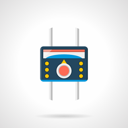 heated: Heated floor temperature controller. Blue thermoregulator with red tumbler, yellow buttons and pipes. House climate equipment. Single flat color design vector icon.