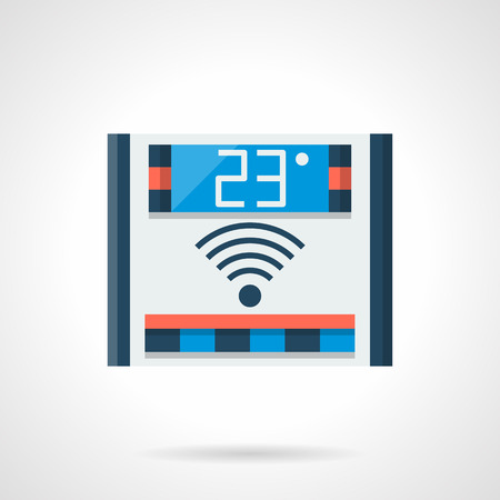 warmness: Digital thermostat for smart energy-saving heated system. Remote control of home temperature. Underfloor heating equipment. Single flat color design vector icon Illustration