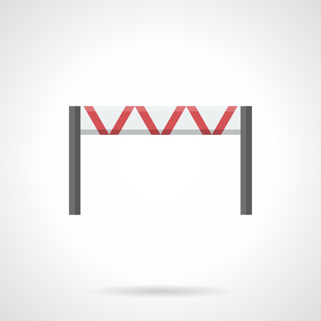 movement control: Classic horizontal traffic restrictor with red stripes. Road blocks and barrier. Equipment for control of movement near construction site, roadwork and others. Flat color style vector icon.