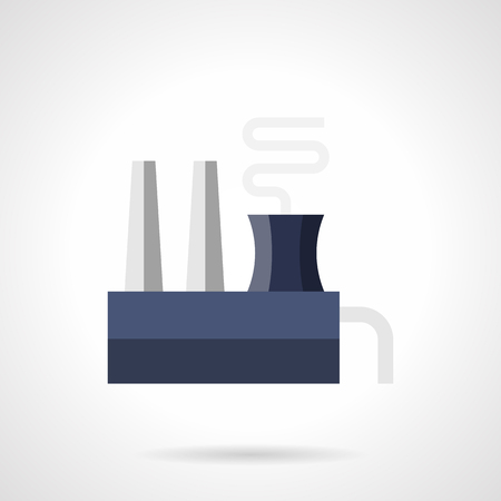 steel factory: Blue and gray color steel mill or ferroalloy plant with chimneys and smoke. Industrial factory, buildings and other architecture. Environment problems. Flat style vector icon.
