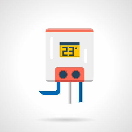 heated: Electric water heater for heated floor system. White tank with 23 degree on display, gray and blue pipes. Underfloor heating appliances and equipment. Single flat color design vector icon Illustration