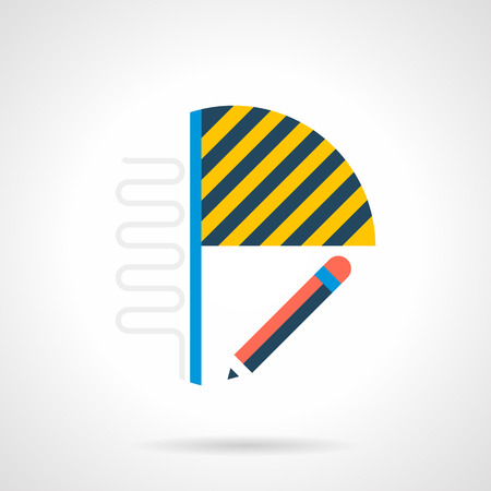 heated: House renovation service. Installing of heated floor on balcony or loggia. Abstract symbol with pencil, laminate and section with pipes. Single flat color design vector icon.