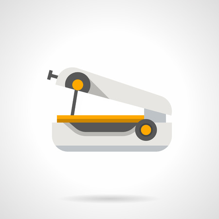 Mechanical manual mini sewing machine. Portable device for clothing repair in journey, homemade needlework, stitching cloth. Flat color style vector icon. Illustration