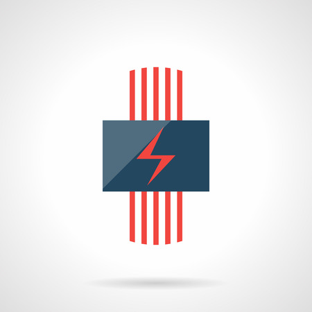 cords: Conceptual sign of electric heating system with red cords and power symbol. Contemporary technology for house climate. Heated floor theme. Modern style flat colored vector icon. Illustration