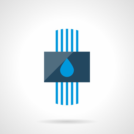 floor heating: Conceptual sign of water heating system with blue pipes and drop symbol. Alternative efficiency technology for house climate. Heated floor theme. Modern style flat colored vector icon.