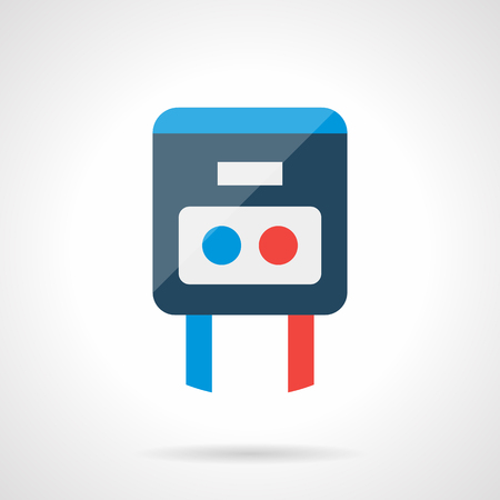 knobs: Simple temperature regulator with blue and red buttons or knobs. House climate control, heating system and warm floor element. Modern style flat colored vector icon.
