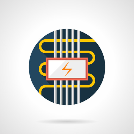 heated: Cable electric floor heating symbol. Installing services for flooring, house renovation, seasonal improvement. Underfloor heated systems. Colored round flat design vector icon. Illustration