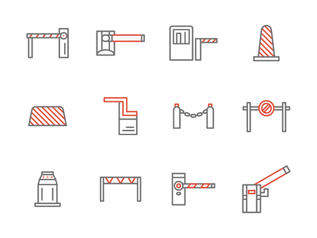 traffic barricade: Collection of traffic control and restricted area equipment. Construction barricade, gates, parking payment station, railway barrier and others. Set of simple gray and red line style vector icons. Illustration