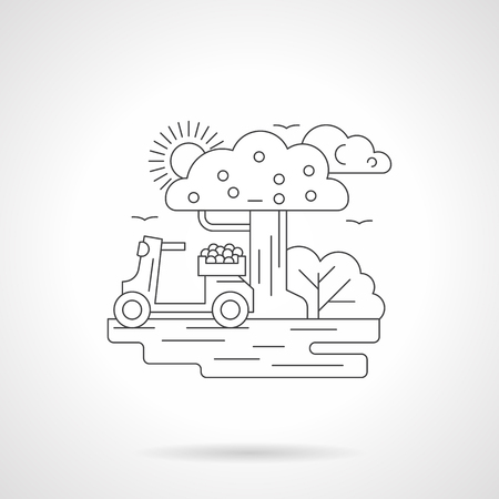moped: Sunny landscape with vintage scooter under a tree. Moped with box full of fruits. Two wheeled transport. Detailed flat line vector icon. Web design element. Illustration